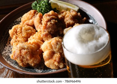 Beer and Karaage,Fried chicken japanese style