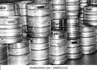 beer kegs. A lot of beer kegs by the wall.