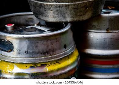 Beer Kegs In The Garden