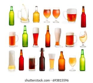 Beer large thematic collection. Different types of beer in glasses and bottles isolated on white