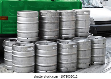 beer metallic kegs in city street for delivery