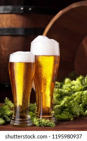 Beer .Two Mug of beer.Beer with hops.Advertising of beer.Barrel and scattered hops on backgorund.