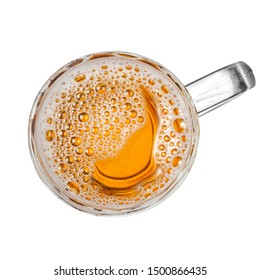 Beer mug with bubbles, top view