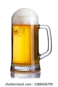 beer in mug with foam and bubbles isolated on white background