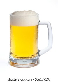 Beer in a mug with a head isolated on white