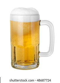 Beer in a Mug isolated on white with a clipping path