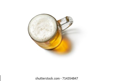 Beer mug isolated on white background.Top view