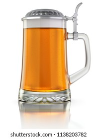 Beer mug with metal cap on white reflective background - 3D illustration
