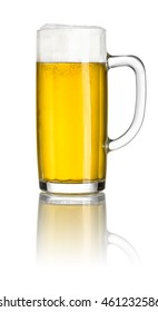 Beer in a beer mug on a white background