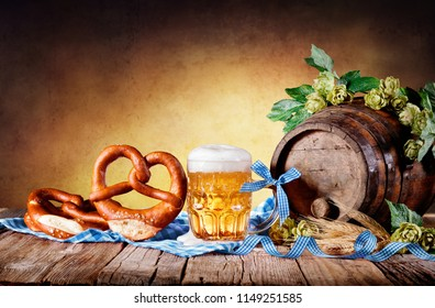 Beer Mug With Pretzel And Bavarian Decoration