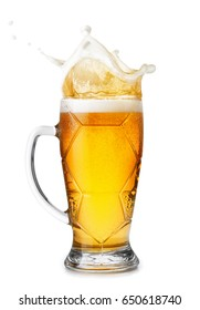 beer in mug with splashes foam isolated on white background