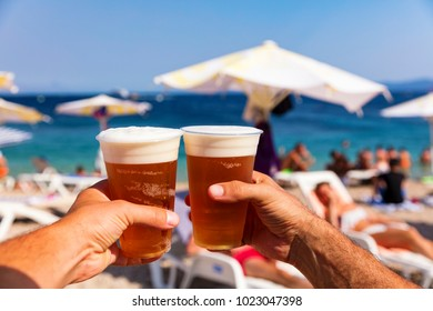 Beer on the beach on a sunny day. Cheers!