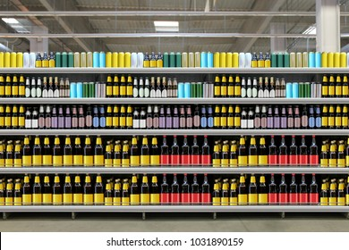 Beer on shelfs in store