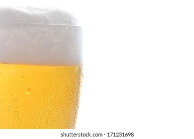 Beer on the white background