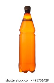 Beer plastic bottle brown on white isolated background