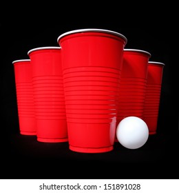 Beer pong. Red plastic cups and ping pong ball over black background. Closeup