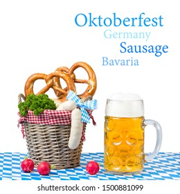Beer and pretzel with bavarian sausage during the Oktoberfest festival in Munich, Germany
