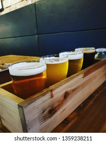 A beer sampler which consists of 4 kinds of beers at the pub in Busan, Korea. Photo taken by Jihun Kim in April 2nd 2019