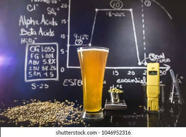 Beer Science Black Board with Graph, Data and Specs, Hops Grain and Tools About the Production Process in Studio.