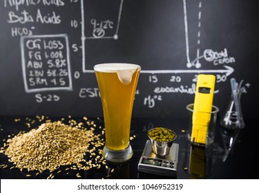 Beer Science ! Black Board with Graph, Data and Specs, Hops Grain and Tools About the Production Process in Studio.