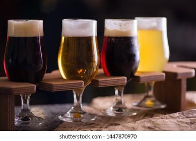 beer set light dark in glasses