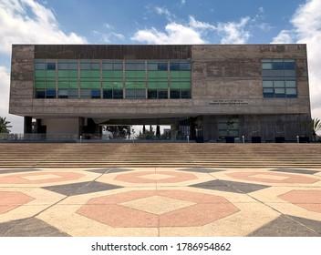 BEER SHEVA, ISRAEL - APRIL   16, 2019: New modern building of Ben Gurion University in Beer Sheva.