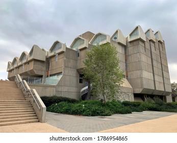 BEER SHEVA, ISRAEL - APRIL   16, 2019: Library of Ben Gurion University in Beer Sheva. Architectural style brutalism