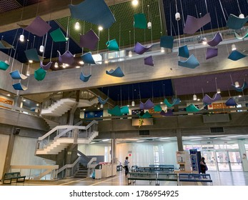 BEER SHEVA, ISRAEL - APRIL   16, 2019: Modern interior of the building of Ben Gurion University in Beer Sheva