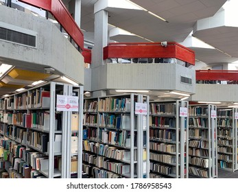 BEER SHEVA, ISRAEL - APRIL   16, 2019: Interior of the library of the Ben-Gurion University in the Negev