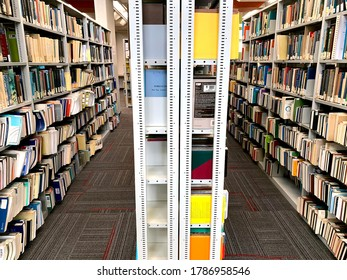 BEER SHEVA, ISRAEL - APRIL   16, 2019: Shelves with books in the library of Ben-Gurion University in the Negev