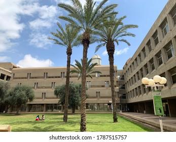 BEER SHEVA, ISRAEL - APRIL   16, 2019:  Training building and courtyard of Ben Gurion University in Beer Sheva. Architectural style brutalism