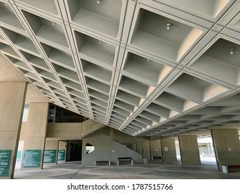 BEER SHEVA, ISRAEL - APRIL   16, 2019:  Training building of Ben Gurion University in Beer Sheva. Architectural style brutalism