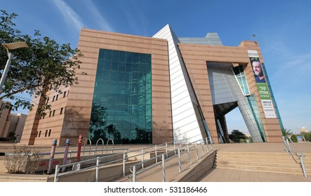 BEER SHEVA, ISRAEL - DECEMBER 06, 2016: Modern building Municipal Theatre in Beer Sheva in high-tech style