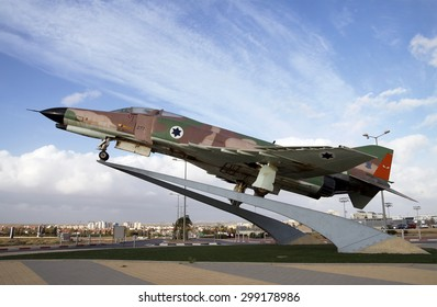 BEER SHEVA, ISRAEL - JANUARY 16, 2012: All-weather multi-role fighter of the Air Force of Israel, F-4 Phantom on a pedestal in Be'er Sheva