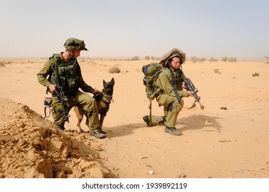 Beer Sheva, Israel - March 20, 2013 : A photo of soldiers in unit 'Oketz' in the Israeli IDF during training.