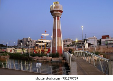 BEER SHEVA, ISRAEL - NOVEMBER 04, 2017: Stylized lighthouse and ship on a pond in a children's park