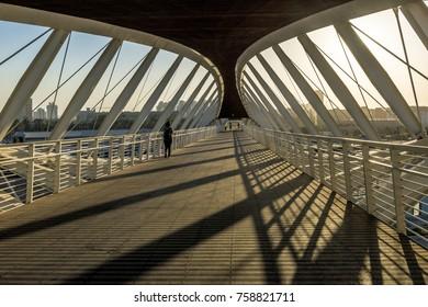 BEER SHEVA ,ISRAEL - OCTOBER 20 2017 Modern pedestrian bridge at the railway station in Israel Beer Sheva