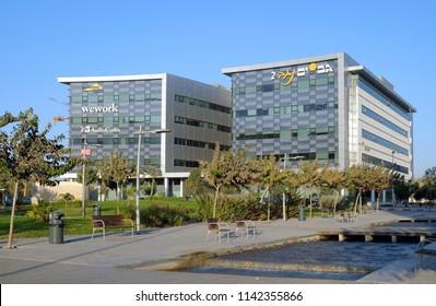 BEER SHEVA, ISRAEL - OCTOBER 26, 2017: Buildings and recreation area in the High-Tech Park Gev Yam Negev in Beer Sheva