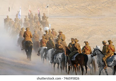 BEER SHEVA, ISRAEL - OCTOBER 31, 2017: Reconstruction of the attack on Beer Sheva by the forces of the Australian and New Zealand Army Corps (ANZAC) during the First World War