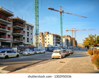 Beer Sheva, Israel-August 21, 2018: Eight multi stories living towers are in construction in a new development project Open Valley in Ramot neighborhood