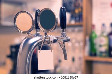 Beer spigot keys in the bar
