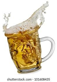 Beer splash in a mug