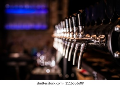 Beer tap array from the bar counter