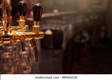Beer tap from bar counter