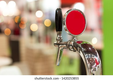 Beer tap in bar, mock up with selective focus