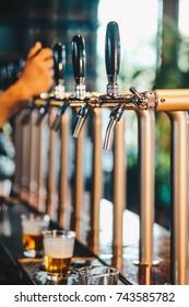 Beer Tap in Restaurant lager beer and craft beer