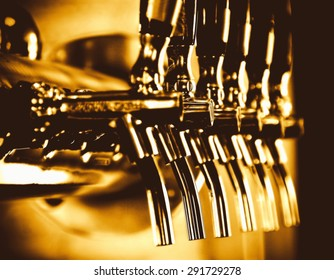 beer taps array vintage style