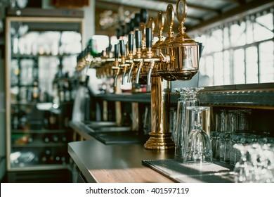 Beer taps in a restaurant