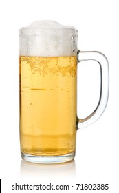 Beer in a traditional glass mug on white background