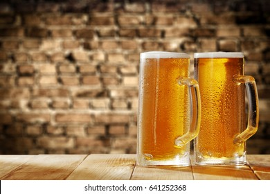 beer and wooden table
